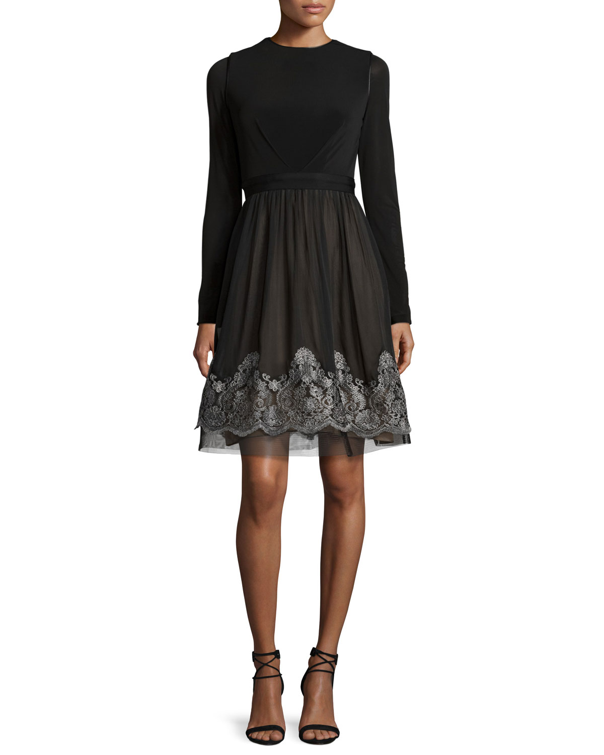 Long-Sleeve Jersey & Silk Fit-and-Flare Dress, Black/Silver