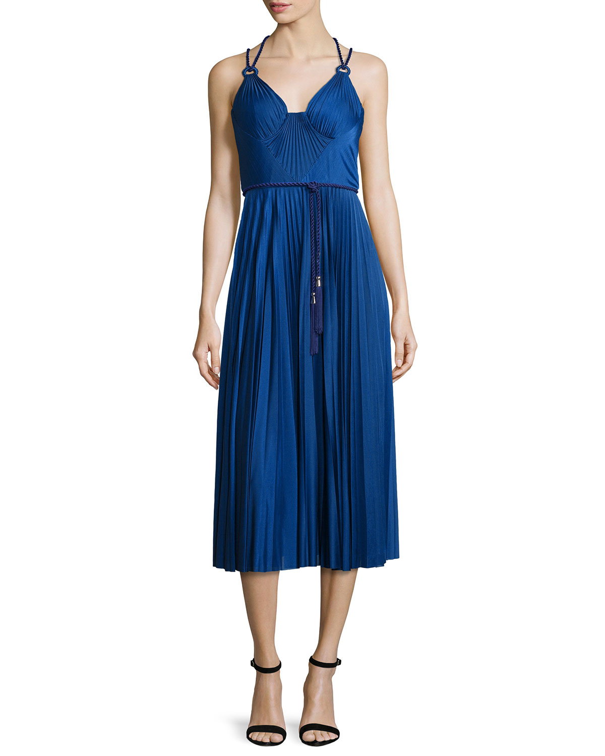 Sleeveless Belted Pleated Cocktail Dress, Cobalt
