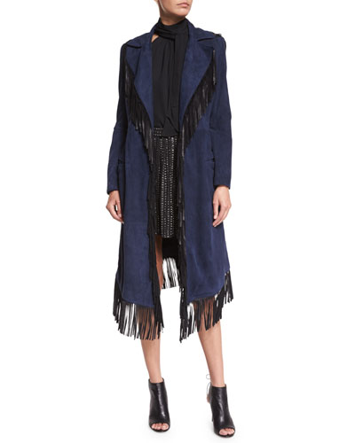Suede Fringe Coat, Midnight