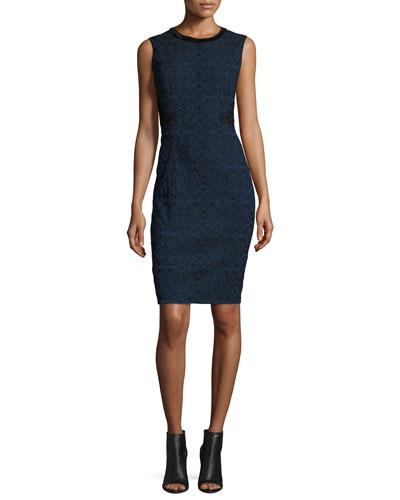 Dorian Textured Lace-Panel Sheath Dress, Navy/Black