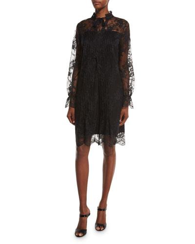 Dara Long-Sleeve Lace Overlay Dress, Black