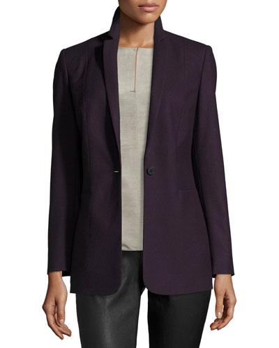 Bonnie One-Button Stretch-Wool Blazer, Aubergine