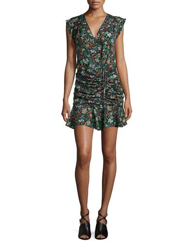 Floral Silk Waterfall Dress, Black/Multicolor