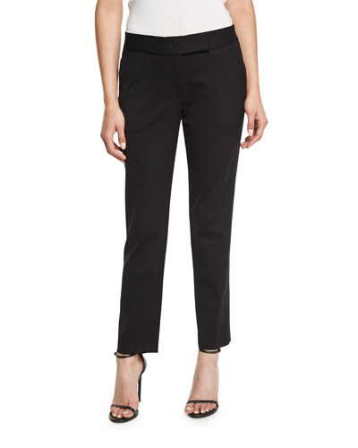 Tapered Gabardine Ankle Pants, Black