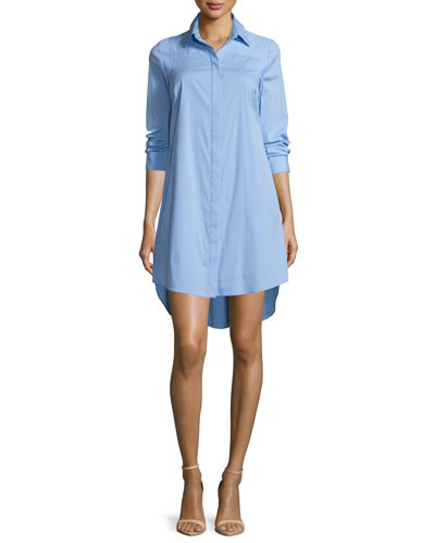 Long-Sleeve Stretch-Poplin Shirtdress, Sky