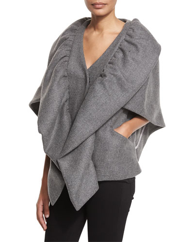 Statement Double-Face Wool-Blend Cape Jacket, Charcoal