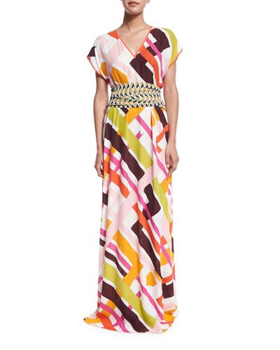 Parioli-Print Coverup Maxi Dress w/Tie, White/Pink Green
