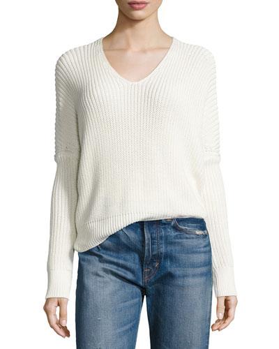 1/2-Cardigan Stitch V-Neck Sweater, Off White