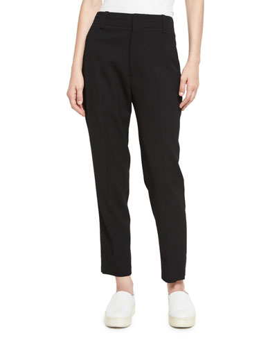 Cropped High-Waist Pants, Black