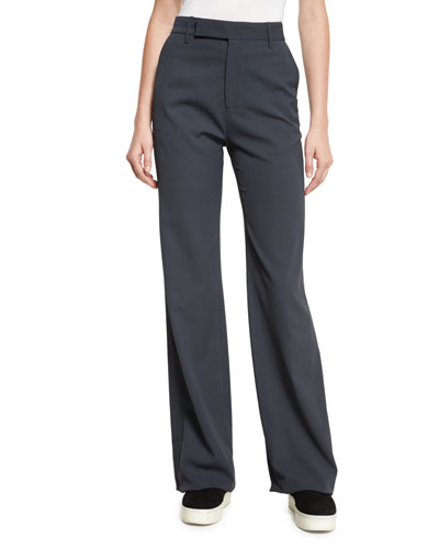 High-Waist Wide-Leg Pants, Dark Gray