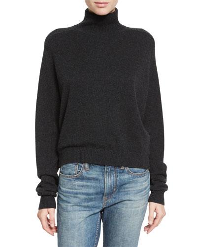 Cashmere Drop-Shoulder Turtleneck Sweater, Heather Charcoal