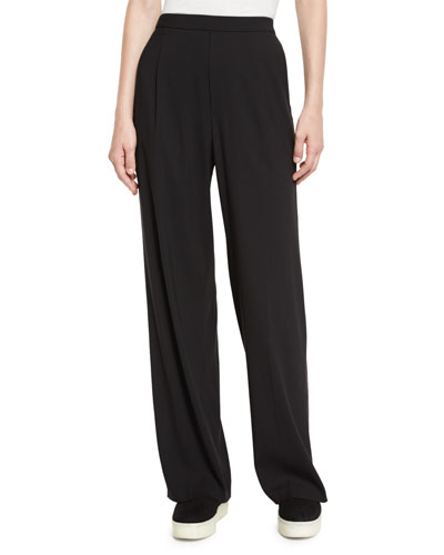 High-Waist Single-Pleat Pants, Black