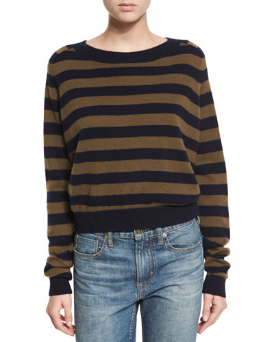Regiment Stripe Cashmere Sweater, Coastal/Rifle