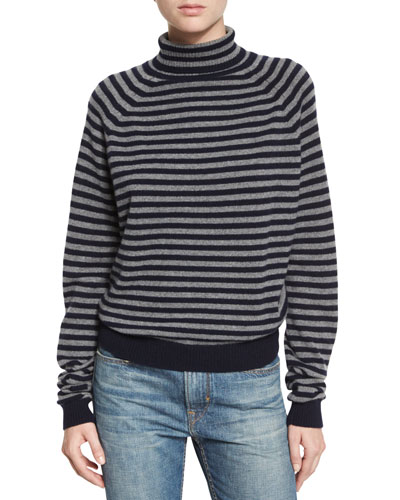 Breton Striped Cashmere Sweater, Coastal/Stone