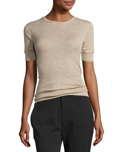 Wool Short-Sleeve Crewneck Sweater