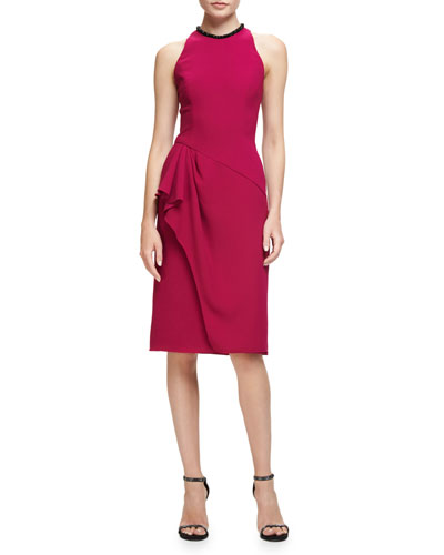 Sleeveless Ruffle-Trim Sheath Dress, Fuchsia