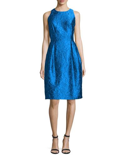 Sleeveless Floral Jacquard Tulip Dress, Turquoise