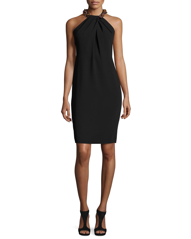 Sleeveless Beaded Crepe Cocktail Dress, Black