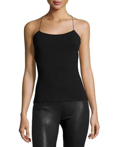 Strappy Cross-Back Cutout Camisole, Black