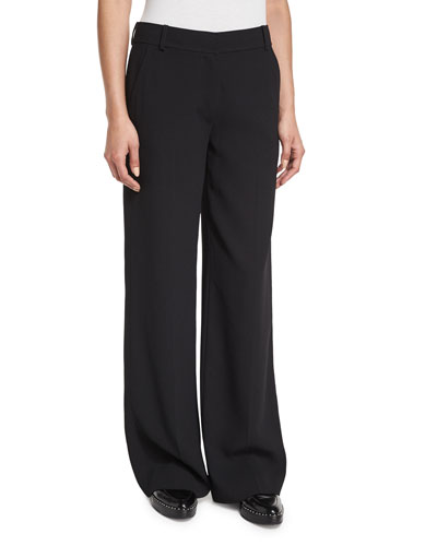 Crepe Wide-Leg Trousers, Black