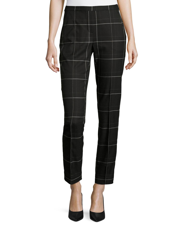 Karis Windowpane Plaid Ankle Pants, Black Multi