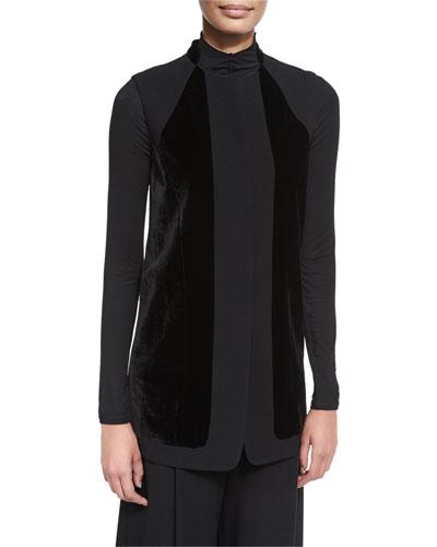 Liz Long Vest w/ Angled Velvet Panels, Black