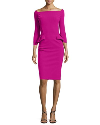 3/4-Sleeve Off-the-Shoulder Peplum Sheath Dress, Cyclamen