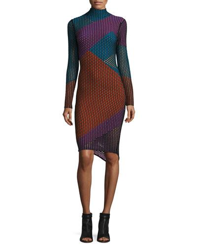 Long-Sleeve Netted Mesh Colorblock Dress, Black/Multicolor