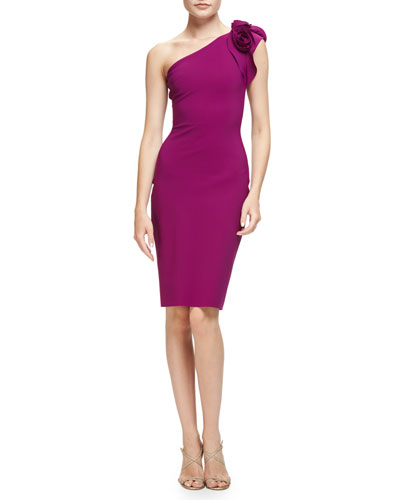 Enrica One-Shoulder Sheath Dress, Vinaccia