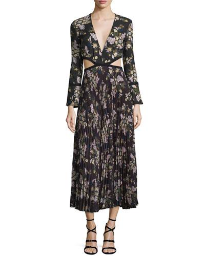 Josefa Floral Pleated Midi Dress, Black/Multicolor