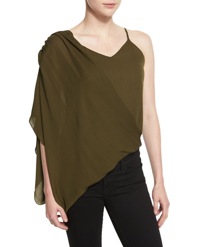 Silk Asymmetric Wrap Camisole, Military