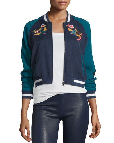 Willa Reversible Embroidered Bomber Jacket, Royal/Cerulean