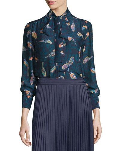 Winnie Bird-Print Tie-Front Blouse, Royal/Diver