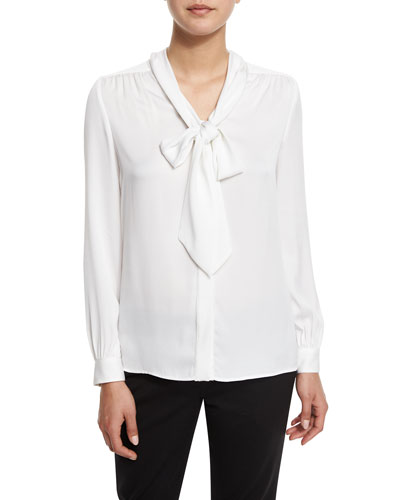 Tie-Neck Silk-Blend Button-Front Blouse, White