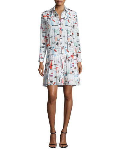 High Gloss Printed Pleated Dress, White/Multicolor