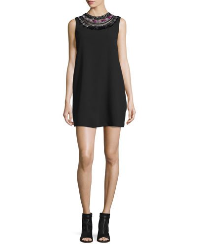 Sleeveless Embellished Crepe Shift Dress, Black/Multicolor
