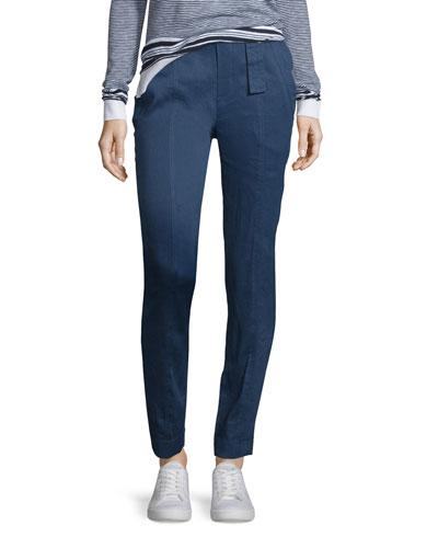 Linen-Blend Belted Trousers, Blue Marine