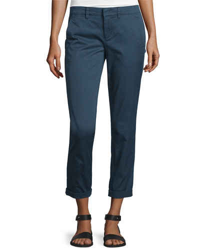 Twill Boyfriend Trousers, Slate Blue