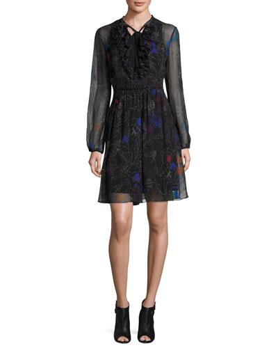 Desi Tie-Neck Floral Silk Chiffon Dress, Black Multi