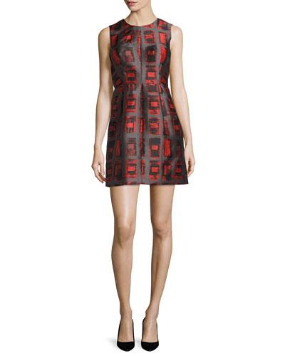Coco Sleeveless Brushstroke Rectangle-Print Dress, Flame