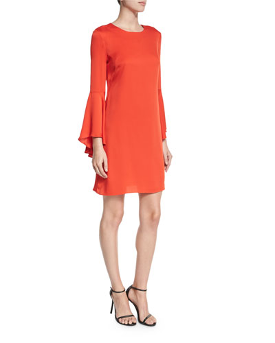 Bell-Sleeve Stretch-Silk Crepe Dress, Flame