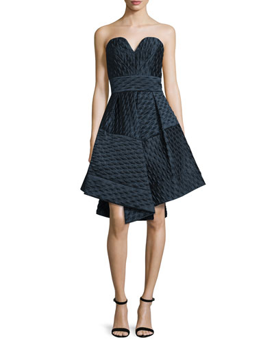 Brocade A-Line Sweetheart Dress, Navy
