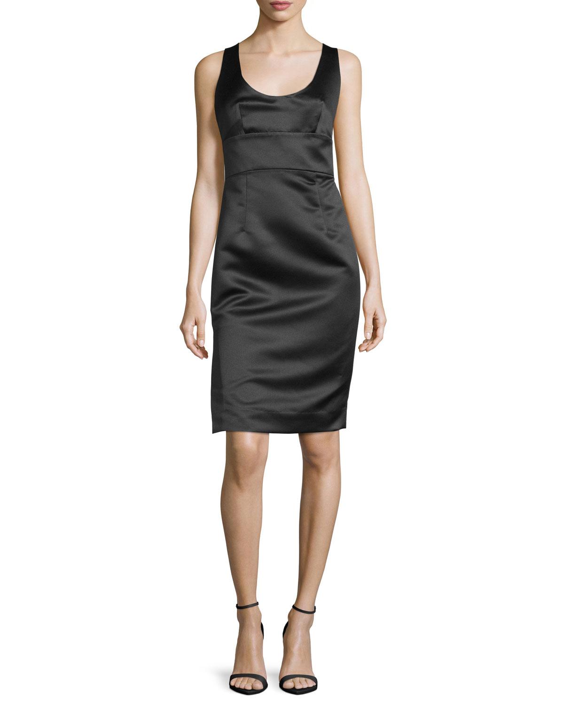 Sleeveless Satin Cocktail Dress, Black