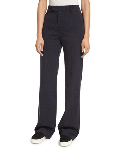 Wide-Leg Wool/Cotton Trousers, Heather Coastal