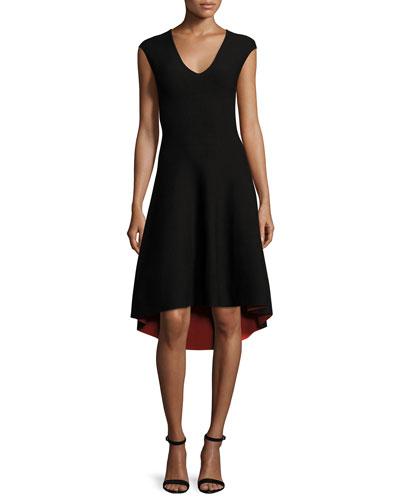 Reversible V-Neck Fit-&-Flare Dress, Black/Flame