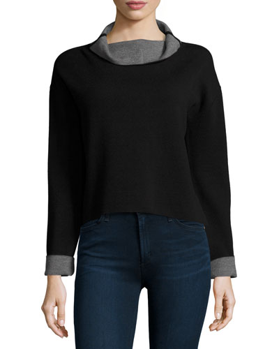 Contrast-Trim Reversible Funnel-Neck Pullover, Black/Gray