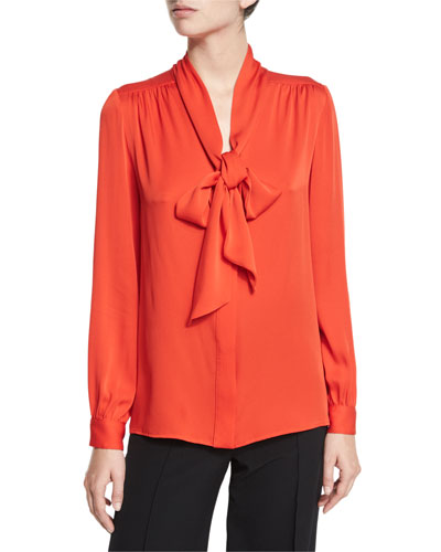 Tie-Neck Stretch-Silk Crepe Blouse, Flame