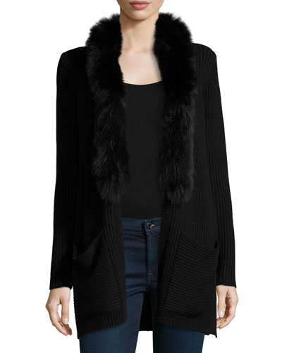 Fox Fur-Trim Ribbed-Knit Wool Jacket, Black