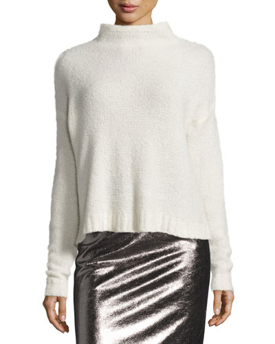 Cashmere Cloud Mock-Neck Pullover, White