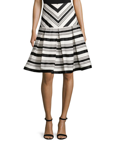 Emmerson Striped Box-Pleat Skirt, Black/White